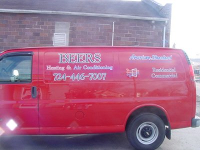 Rear Oblique of Lettered Van